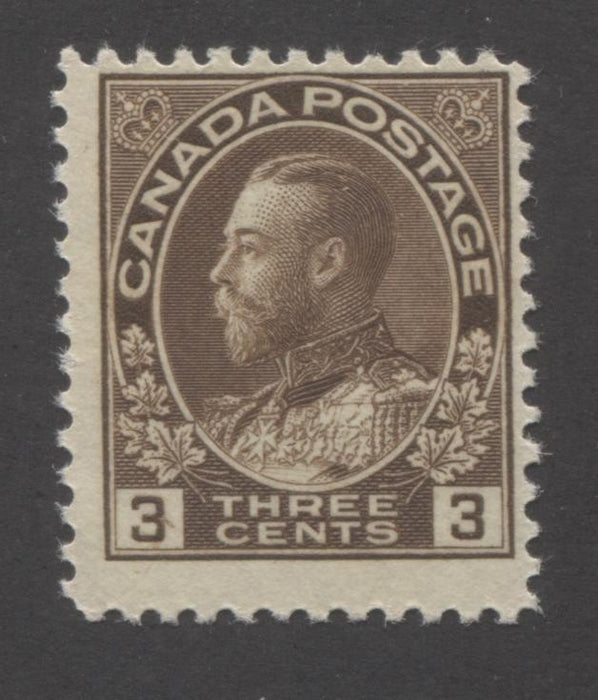 "Canada #108c 3c Deep Brown, King George V 1911-1928 Admiral Issue Fine OG Example of the Dry Printing Showing Diagonal Lines From the Left ""3"" Brixton Chrome"