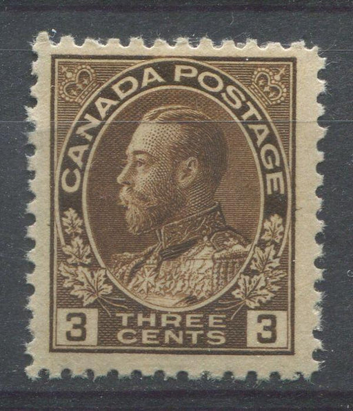 Canada #108ii (SG#205) 3c Very Deep Yellow Brown Admiral Issue Wet Printing F-70 LH Brixton Chrome
