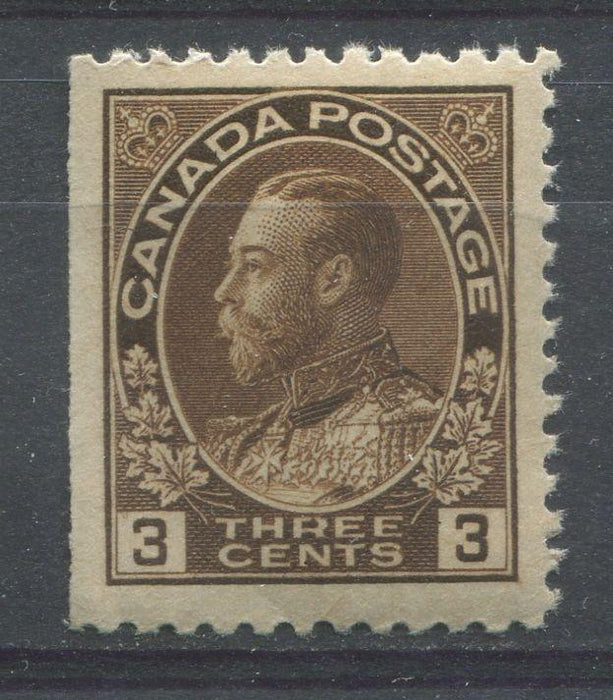 Canada #108ii (SG#205) 3c Very Deep Yellow Brown Admiral Issue Wet Printing VF-75 LH Brixton Chrome