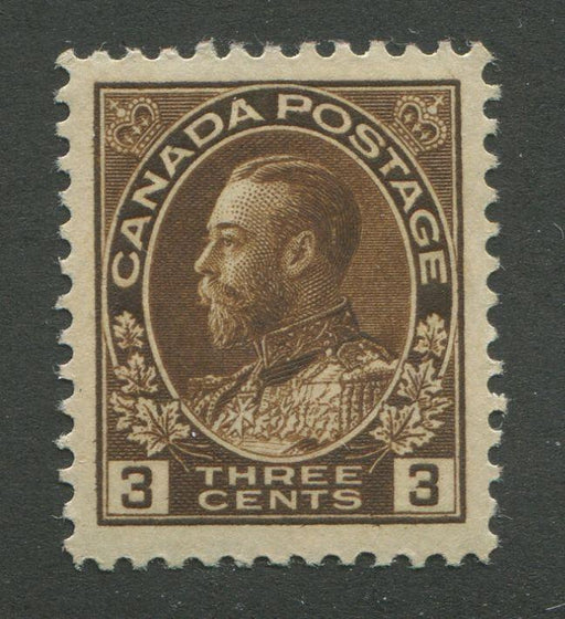 Canada #108ii (SG#205) 3c Very Deep Yellow Brown Admiral Issue Wet Printing VF-80 LH Brixton Chrome