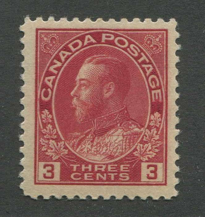 Canada #109 (SG#248) 3c Deep Rose Red 1911-28 Admiral Issue Die 1, Paper With No Mesh VF-75 NH Brixton Chrome
