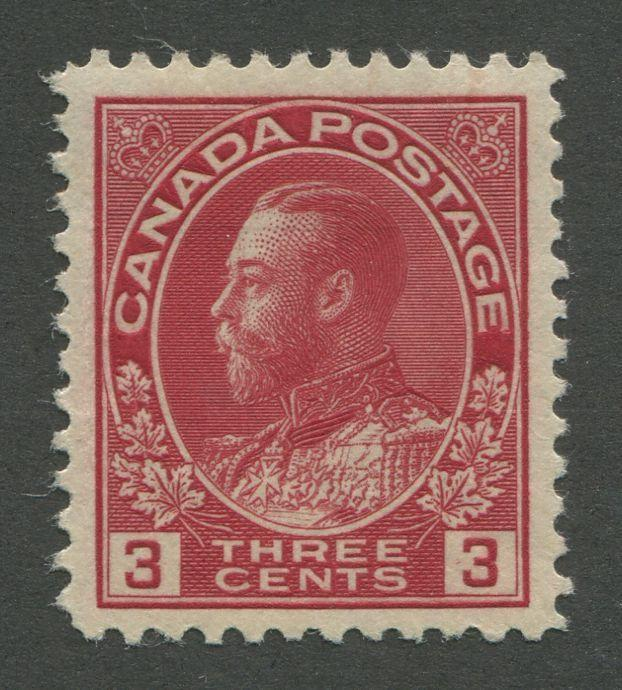 Canada #109 (SG#248) 3c Deep Rose Red 1911-28 Admiral Issue Die 1, Paper With No Mesh VF-84 OG Brixton Chrome