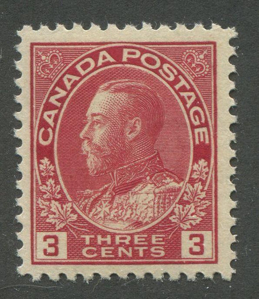 "Canada #109 (SG#248) 3c Scarlet Admiral Issue Die 1, Paper With No Mesh 0.004"" Thick VF-75 NH Brixton Chrome"