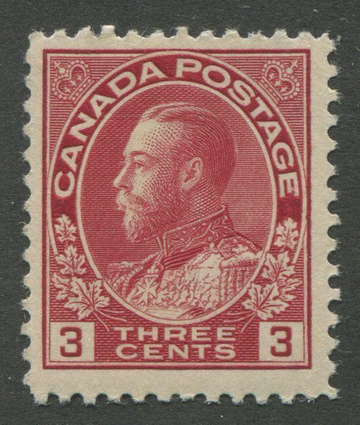 Canada #109 (SG#248) 3c Very Dark Rose Red - 1911-28 Admiral Issue Die 1, Paper With No Mesh F-68 OG Brixton Chrome
