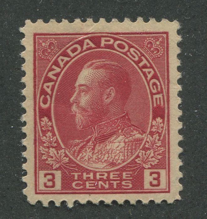 Canada #109 (SG#248) 3c Very Deep Rose Red - 1911-28 Admiral Issue Die 1, Paper With No Mesh VF-75 OG Brixton Chrome