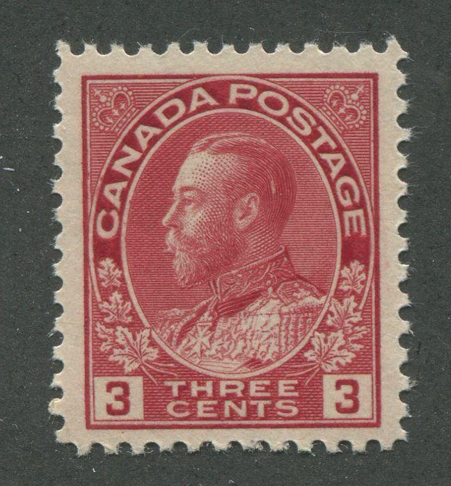 Canada #109c (SG#248a) 3c Carmine Red Admiral Issue Die 2, Paper With No Mesh VF-80 NH Brixton Chrome