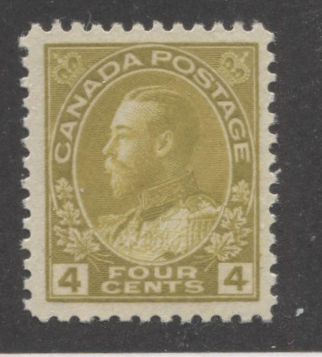 Canada #110 (SG#249) 4c Olive Bistre 1911-1928 Admiral Issue Wet Printing, Fine Mesh Paper Paper, A Very Fine Mint LH Example Brixton Chrome