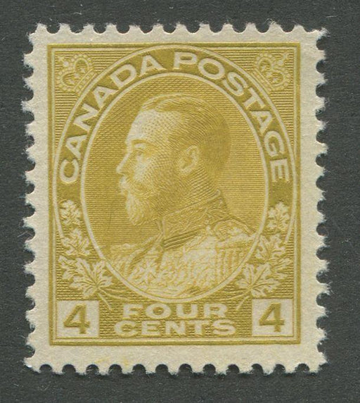 Canada #110d (SG#249a) 4c Olive Bistre Admiral Issue Dry Printing, Fine Mesh Paper VF-75 Unused Brixton Chrome