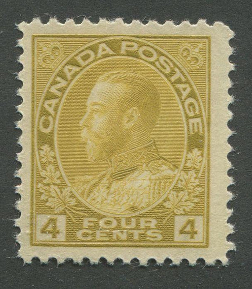 Canada #110d (SG#249a) 4c Olive Bistre Admiral Issue Dry Printing, Paper With No Mesh VF-75 NH Brixton Chrome