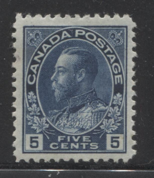 Canada #111 5c Dark Blue, King George V 1911-1928 Admiral Issue Very Fine Mint OG Example Brixton Chrome