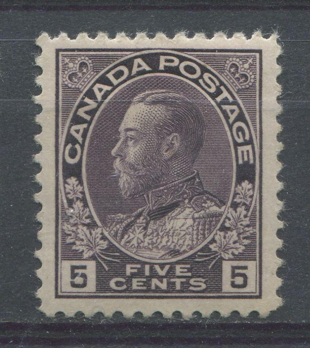 Canada #112i (SG#250) 5c Deep Dull Purple 1911-27 Admiral Issue Wet Printing, Paper With No Mesh VF-80 OG Brixton Chrome