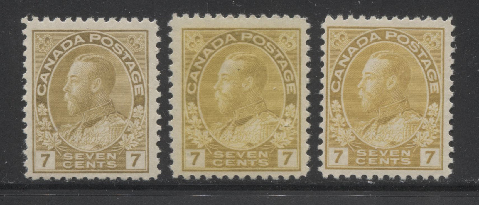 Canada #113/113c 7c Straw, Yellow Ochre and Olive Bistre, King George V 1911-1928 Admiral Issue Fine Mint OG Examples Brixton Chrome