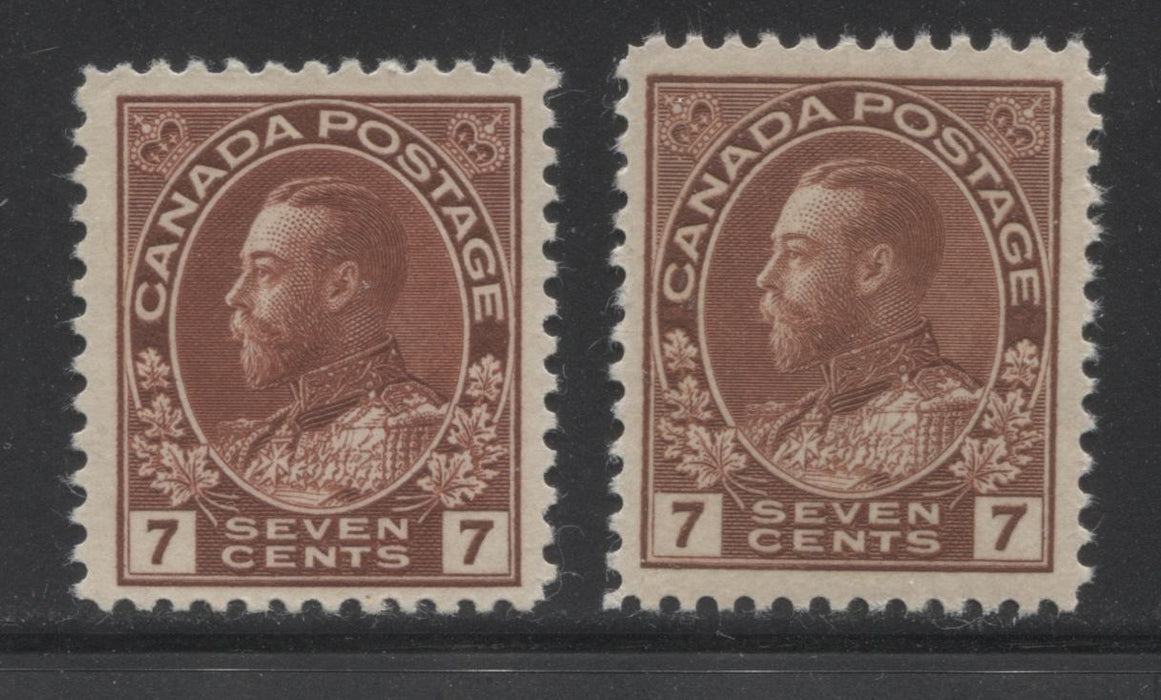 Canada #114, 114b 7c Red Brown and Lake Brown, King George V 1911-1928 Admiral Issue Fine Mint NH Examples of the Wet and Dry Printings Brixton Chrome