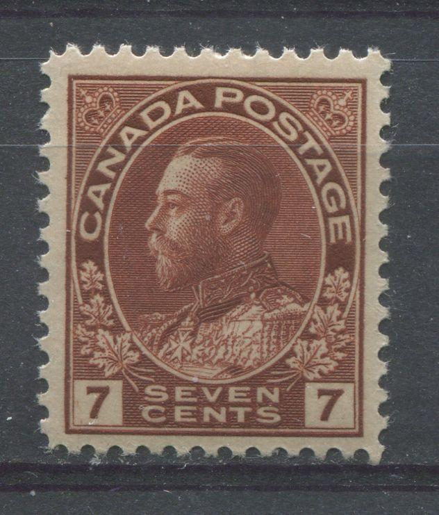 Canada #114 (SG#251) 7c Bright Red Brown 1911-27 Admiral Issue Dry Printing, Paper With No Mesh VF-75 NH Brixton Chrome