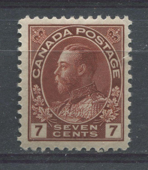 Canada #114 (SG#251) 7c Bright Red Brown 1911-27 Admiral Issue Wet Printing, Paper With No Mesh VF-75 OG Brixton Chrome