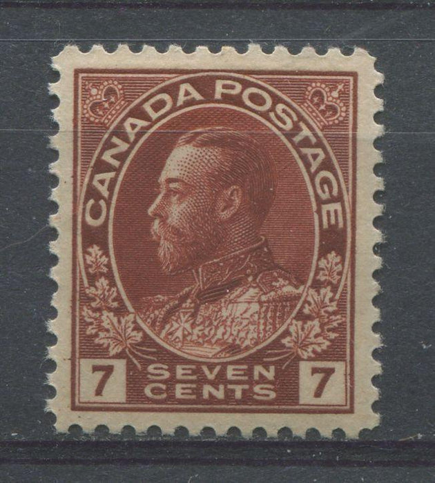 Canada #114 (SG#251) 7c Deep Lake Brown 1911-27 Admiral Issue Wet Printing, Paper With No Mesh VF-84 OG Brixton Chrome