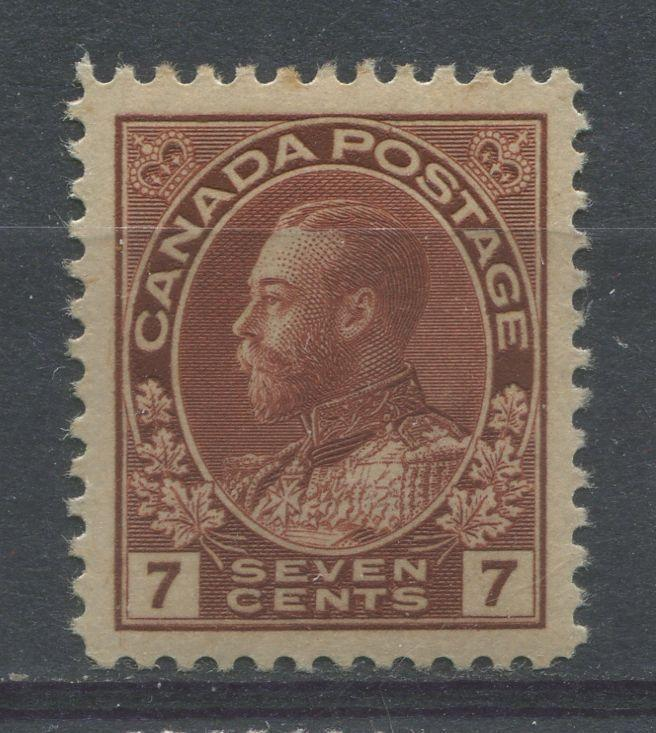 Canada #114 (SG#251) 7c Red Brown 1911-27 Admiral Issue Dry Printing, Paper With No Mesh VF-82 OG Brixton Chrome