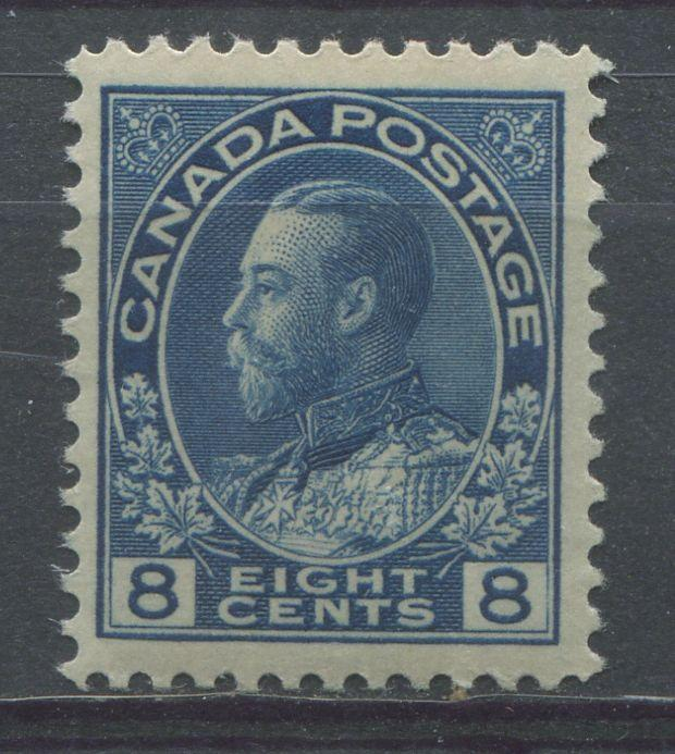 Canada #115 (SG#252) 8c Deep Dull Blue 1911-27 Admiral Issue Paper With No Mesh VF-80 NH Brixton Chrome