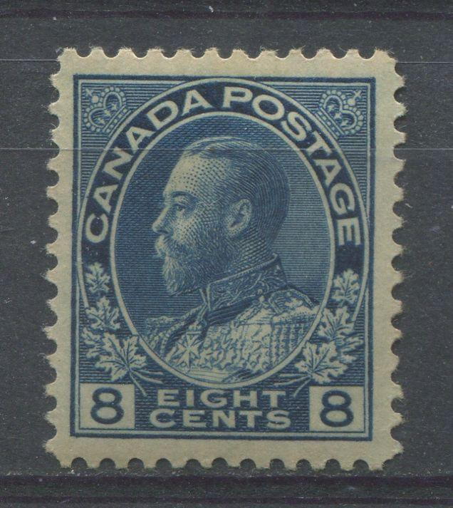 Canada #115 (SG#252) 8c Steel Blue 1911-27 Admiral Issue Paper With No Mesh VF-80 OG HR Brixton Chrome