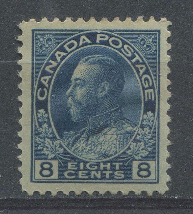 Canada #115 (SG#252) 8c Steel Blue 1911-27 Admiral Issue Paper With No Mesh VF-82 OG Brixton Chrome