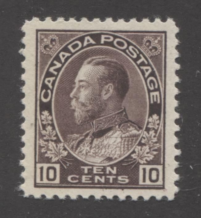 Canada #116 (SG#210) 10c Dark Purple Brown 1911-27 Admiral Issue, A Very Fine Mint OG Example Brixton Chrome