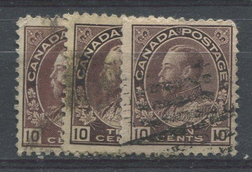 Canada #116a (SG#211) 10c Plum 1911-27 Admiral Issue Reference Lot of 3 Different Shades Brixton Chrome