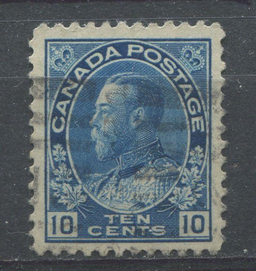 Canada #117 (SG#253) 10c Bright Blue 1911-27 Admiral Issue Wet Printing Fine Mesh Paper VF-75 Used Brixton Chrome
