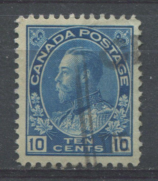 Canada #117 (SG#253) 10c Bright Blue 1911-27 Admiral Issue Wet Printing Fine Mesh Paper VF-84 Used Brixton Chrome