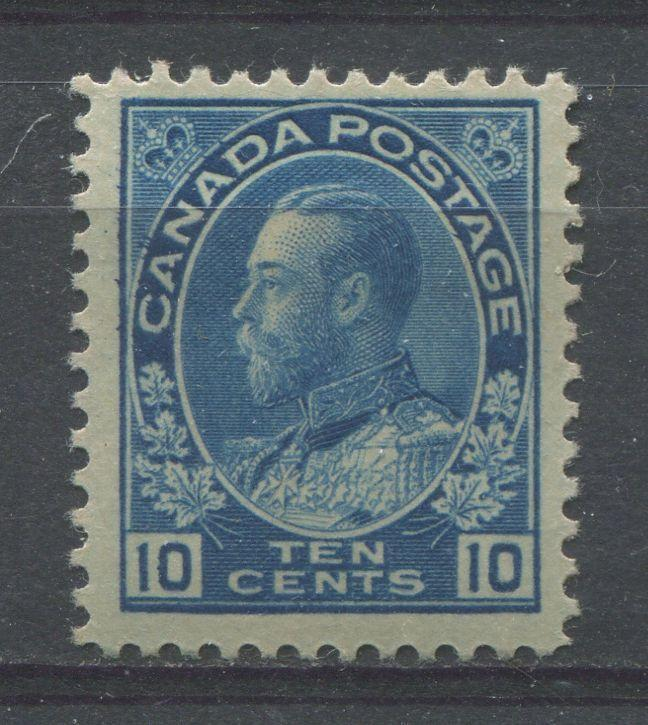 Canada #117 (SG#253) 10c Bright Blue 1911-27 Admiral Issue Wet Printing, Paper With No Mesh F-70 OGHR Brixton Chrome