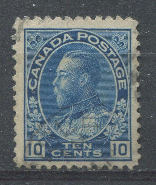 Canada #117 (SG#253) 10c Deep Dull Blue 1911-27 Admiral Issue Wet Printing Paper With No Mesh F-70 Used Brixton Chrome