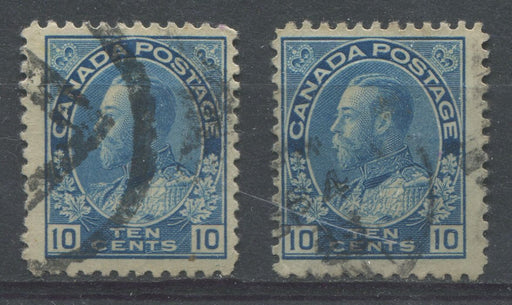 Canada #117 (SG#253) 10c Prussian Blue 1911-27 Admiral Issue Wet Printing 2 Papers F-65 Used Brixton Chrome