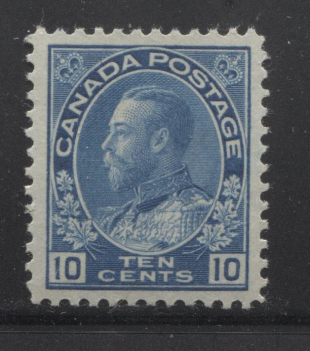 Canada #117ii 10c Deep New Blue, King George V 1911-1928 Admiral Issue Very Fine Mint LH Example of the Wet Printing Brixton Chrome