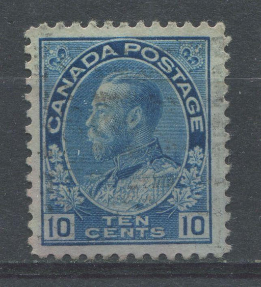 Canada #117ii (SG#253) 10c Deep Dull Milky Blue 1911-27 Admiral Issue Wet Printing F-70 Used Brixton Chrome