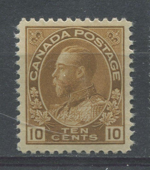 Canada #118 (SG#254) 10c Pale Bistre Brown 1911-27 Admiral Issue Paper With No Mesh VF-84 LH Brixton Chrome