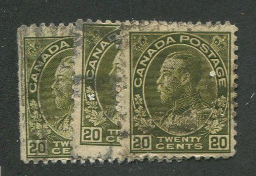 Canada #119c (SG#212) 20c Deep Olive Green 1911-27 Admiral Issue 3 Shade Reference Lot Brixton Chrome