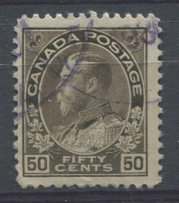 Canada #120 (SG#215) 50c Brownish Grey Black 1911-27 Admiral Issue Dry Printing F-70 Used Brixton Chrome