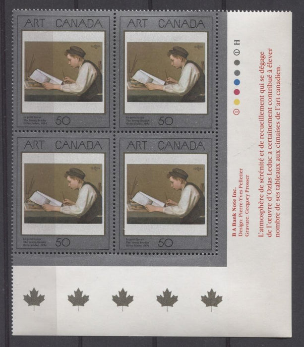 Canada #1203 (SG#1289) 50c 1988 Art Canada The Young Reader LR Inscription Block DF VF-80 NH Brixton Chrome