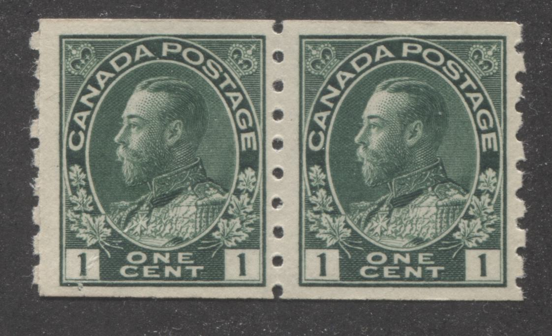 Canada #125i 1c Dark Green 1911-27 Admiral Issue Perf. 8 Vertically, A Fine Mint Example of the Paste-Up Pair Brixton Chrome