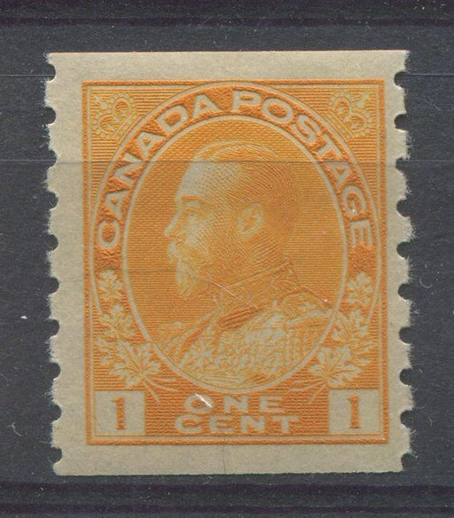 Canada #126 (SG#256b) 1c Orange Yellow 1911-27 Admiral Die 2 Dry Printing Perf. 8 Vertically F-70 OG Brixton Chrome