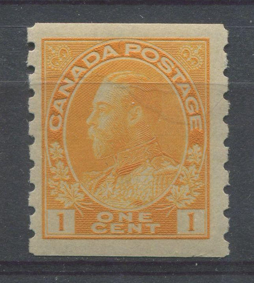 Canada #126 (SG#256b) 1c Pale Orange Yellow 1911-27 Admiral Die 2, Dry Printing, Perf. 8 Vertically VF-75 OG Brixton Chrome