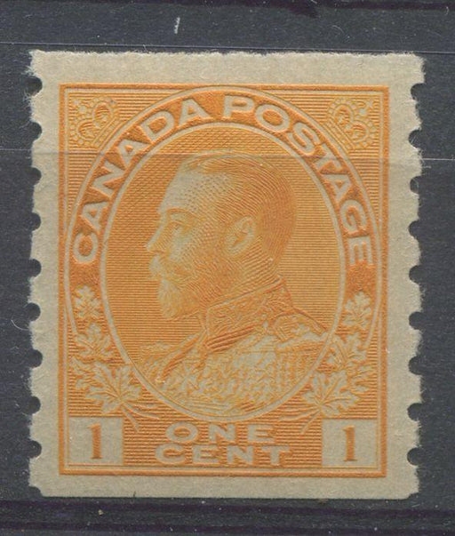 Canada #126 (SG#256b) 1c Very Pale Yellow Orange 1911-27 Admiral Die 2, Dry Printing, Perf. 8 Vertically VF-80 OG Brixton Chrome