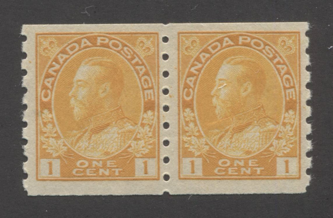 Canada #126d 1c Orange Yellow, King George V 1911-1928 Admiral Issue Very Fine NH/LH Coil Pair of the Wet Printing, Die 1, Perf. 8 Vertically Brixton Chrome