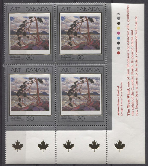 Canada #1271 (SG#1421) 50c 1990 Art Canada The West Wind LR Inscription Block NF/DF Paper VF-84 NH Brixton Chrome