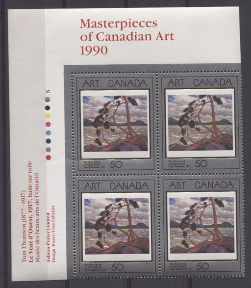 Canada #1271 (SG#1421) 50c 1990 Art Canada The West Wind UL Inscription Block NF/DF Paper VF-84 NH Brixton Chrome