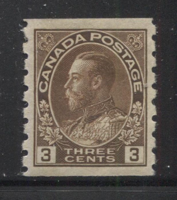 Canada #129 3c Dark Brown, King George V 1911-1928 Admiral Issue Very Fine Mint OG Example of the Perf. 8 Vertical Coil Brixton Chrome
