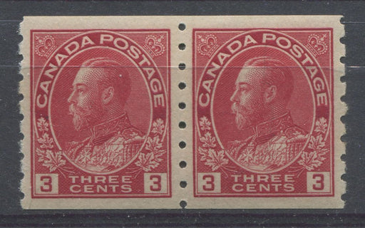 Canada #130 (SG#258) 3c Carmine Red 1911-27 Admiral Perf. 8 Vertically, Wet Printing, Pair VF-84 OG Brixton Chrome