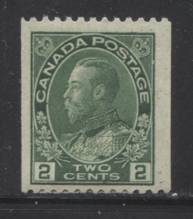 Canada #133 2c Green, King George V 1911-1928 Admiral Issue Fine Mint OG Example of the Scarce Perf. 12 Horizontal Coil Brixton Chrome