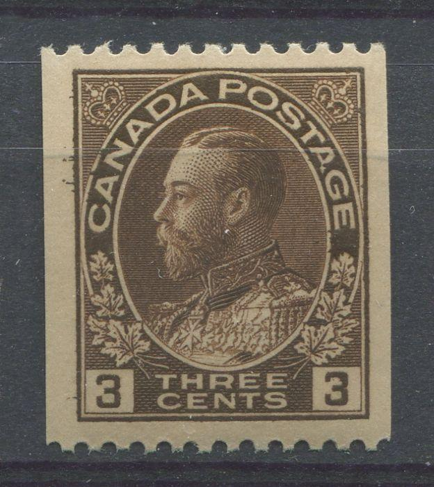 Canada #134 (SG#218a) 3c Very Deep Brown 1911-27 Admiral Perf. 12 Horizontally VF-75 LH Brixton Chrome