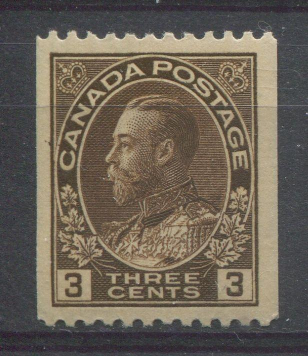 Canada #134 (SG#218a) 3c Very Deep Brown 1911-27 Admiral Perf. 12 Horizontally VF-80 LH Brixton Chrome