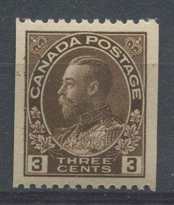 Canada #134 (SG#218a) 3c Very Deep Brown 1911-27 Admiral Perf. 12 Horizontally VF-80 NH Brixton Chrome